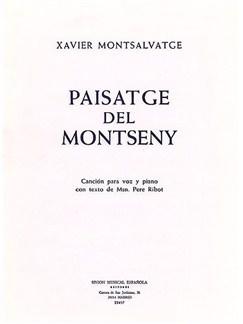 Montsalvatge Paisatge Del Montseny Voice/piano Books | Voice