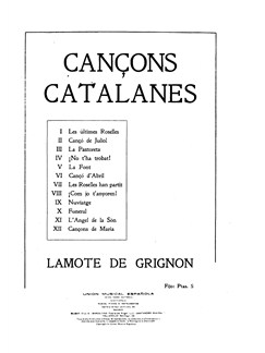 Juan Lamote De Grignon: Cançons Catalanes Books | Voice, Piano Accompaniment