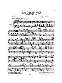 Chueca/Valverde: La Gran Via (Zarzuela En Un Acto) Voice And Piano Books | Opera, Voice, Piano