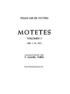 Tomás Luis De Victoria: 52 Motets Vol.1 Books | Voice