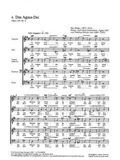 Max Reger: Agnus Dei Op.138 No.6 / Wir Glauben All An Einen Gott Op.138 No.8 Books | SATB