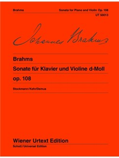 Johannes Brahms: Sonata Op.108 D Minor Books | Violin, Piano Accompaniment