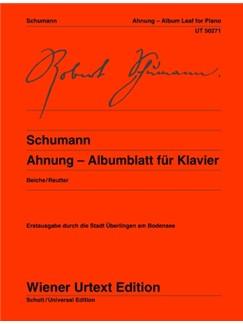 Robert Schumann: Ahnung - Albumblatt Books | Piano