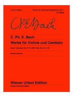 Carl Philipp Emanuel Bach: Sonatas For Violin And Cembalo Vol. 1 (Wq 71-74, BWV 1036, Wq 143-147) Books | Violin, Piano Accompaniment