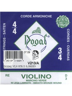 Dogal: Green Violin Smooth Bronze Wound D String (3/4-4/4)  | Violin