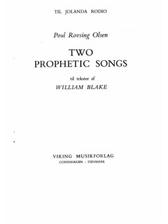 Poul Rovsing Olsen: Two Prophetic Songs Op.16 (Voice And Piano) Books | Mezzo-Soprano, Piano Accompaniment
