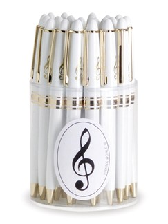 Vienna World: Pen Box - Treble Clef (White/Gold) Box Of 24  |