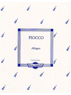 Joseph-Hector Fiocco: Allegro For Viola Books | Viola, Piano Accompaniment