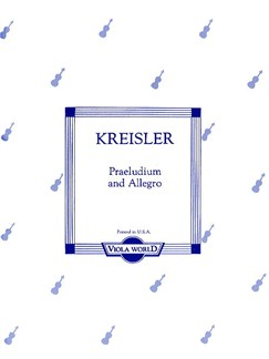 Fritz Kreisler: Praeludium And Allegro (Viola) Books | Viola, Piano Accompaniment