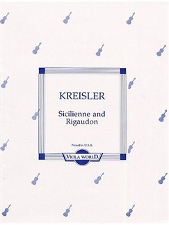Fritz Kreisler: Sicilienne And Rigaudon (Viola/Piano) Books | Viola, Piano