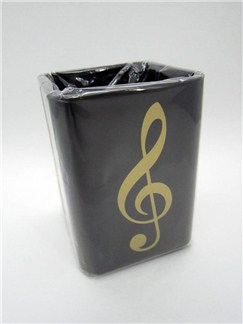 Gold Treble Clef Square Plastic Pen Holder  |