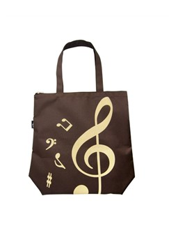 Treble Clef Tote Bag: Brown  |