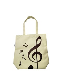 Treble Clef Tote Bag: Beige  |