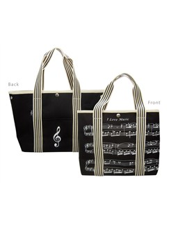 Canvas Tote Bag With Treble Clef/Sheet Music Design  |
