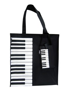 Canvas Tote Bag With Keyboard/Piano Design  |