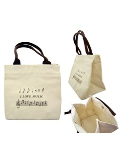 "Mini Cotton Tote Bag With ""I Love Music"" Design  