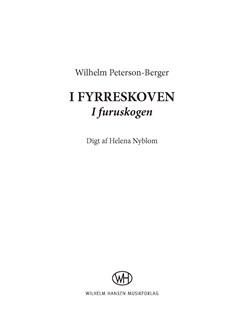 Wilhelm Peterson-Berger: I Fyrreskoven (I Furuskogen) Books | SATB