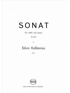Edvin Kallstenius: Sonat For Violin And Piano Books | Violin, Piano Accompaniment