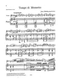 Jean Sibelius: Six Pieces Op.79 No.2 'Tempo Di Minuetto' Books | Violin, Piano