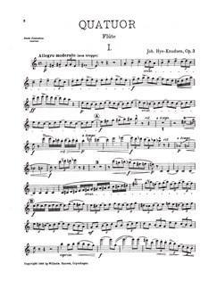 Johan Hye-Knudsen: Quartet Op.3  (Parts) Books | Flute, Oboe (Cor Anglais), Violin, Cello