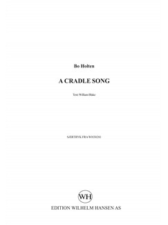 Bo Holten: A Cradle Song Books | SATB