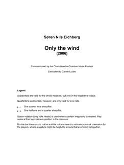 Søren Nils Eichberg: Only The Wind (Parts) Books | Voice, String Quartet