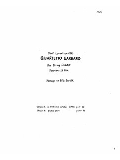 Bent Lorentzen: Quartetto Barbaro For String Quartet Books | Violin, Viola, Cello, String Quartet