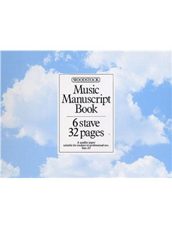 Woodstock Music Manuscript Paper: 6 Stave - 32 pages (A5L Spiral) Books |