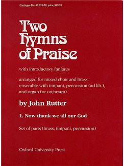 John Rutter: Now Thank We All Our God (Brass Ensemble) Books | Brass Ensemble, Percussion, Timpani