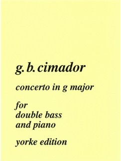Giovanni Cimador: Concerto In G For Double Bass Books | Double Bass, Piano Accompaniment