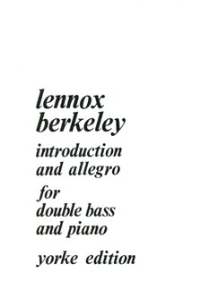 Lennox Berkeley: Introduction And Allegro (1971) (Double Bass & Piano) Books | Double Bass, Piano Accompaniment