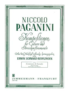Niccolo Paganini: Centone Di Sonate (Sechs Sonaten) Books | Violin, Guitar