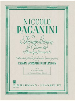 Niccolo Paganini: Cantabile No.8 (Violin/Guitar) Books | Violin, Guitar, Piano Accompaniment