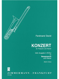 Ferdinand David: Concerto In B Flat (Bass Trombone) Books | Bass Trombone with Piano Accompaniment