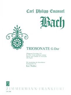 Carl Philipp Emanuel Bach: Trio Sonata In G WQ152 Books | Flute, Violin, Continuo