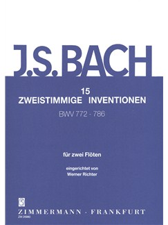 J.S. Bach: 15 Two-Part Inventions BWV 772-796 For Two Flutes Books | Flute (Duet)