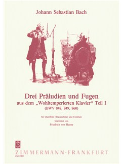 J.S. Bach: 3 Preludes & Fugues BWV 848, 849 & 860 For Flute Books | Flute