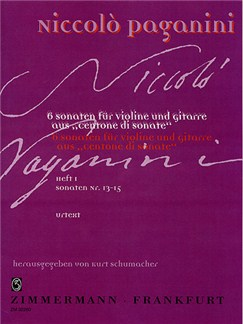 Niccolo Paganini: Centone Di Sonate Volume 1 (Violin/Guitar) Books | Violin, Guitar