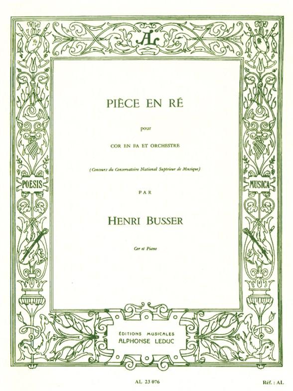 Henri Büsser: Piece In D (Horn/Piano)