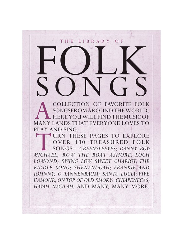 The Library Of Folk Songs - Piano, Vocal & Guitar Sheet Music ...