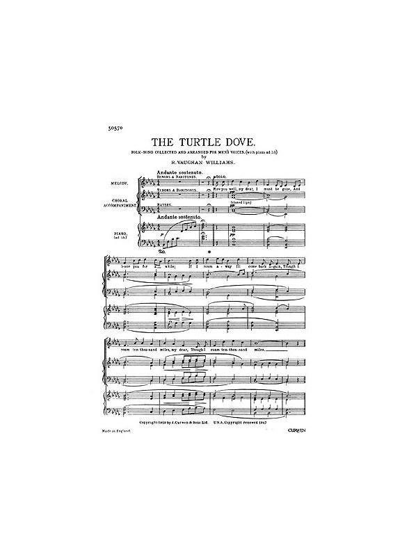 Ralph Vaughan Williams The Turtle Dove Ttbb Klavierbegleitung Noten Noten Songbooks