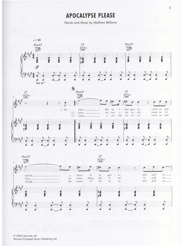 Muse Piano Songbook Piano Vocal Guitar Sheet Music Sheet
