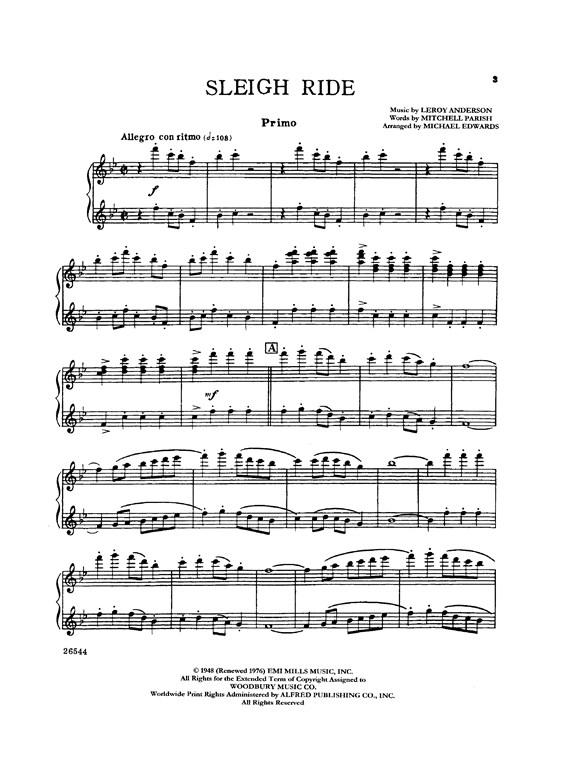 Leroy Anderson: Sleigh Ride - Piano Duet (1 Piano, 4 Hands) - Piano ...