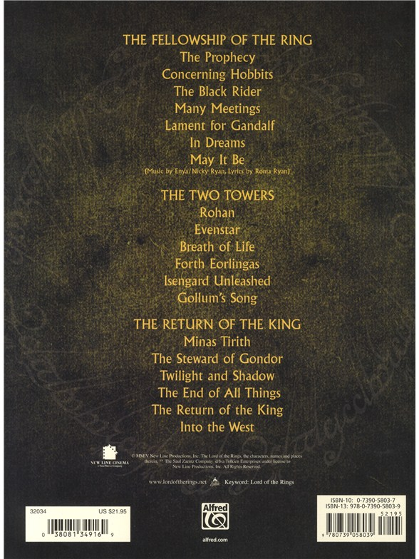The Lord of the Rings Trilogy - Solo Piano - Piano Sheet Music ...