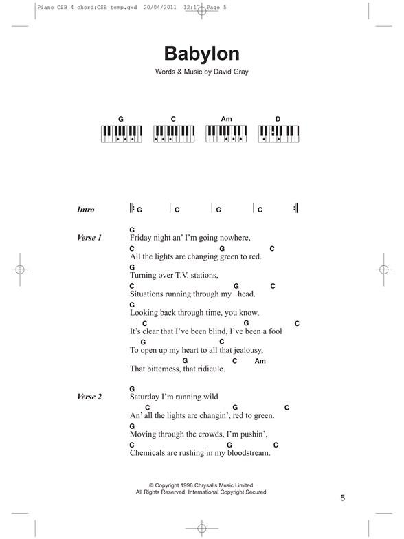 Piano Chord Songbook 4 Chord Songs Lyrics Piano Chords Sheet