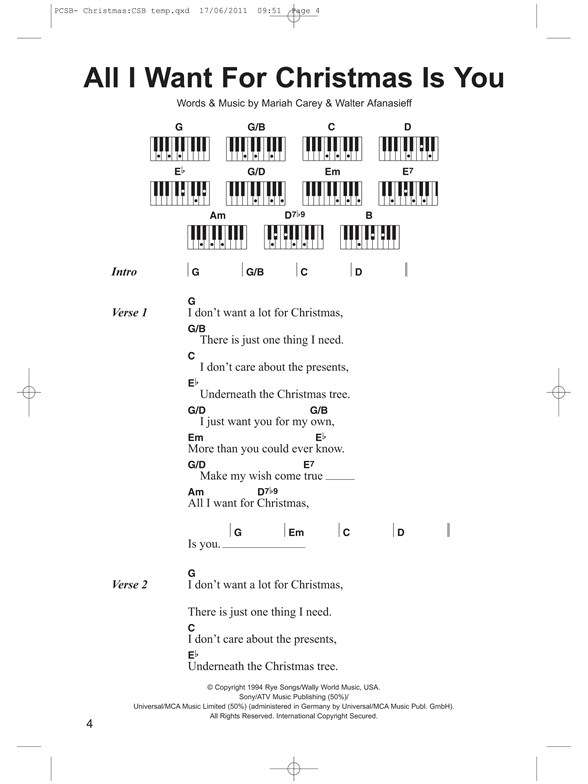 Piano Chord Songbook: Christmas Songs - Lyrics & Piano Chords Sheet ...