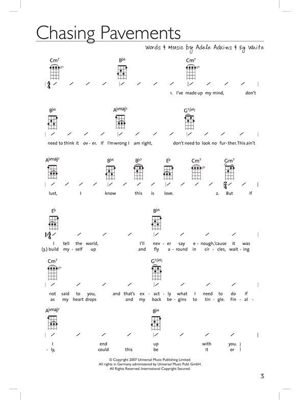 The Very Best Of Adele For Ukulele Ukulele Sheet Music Sheet