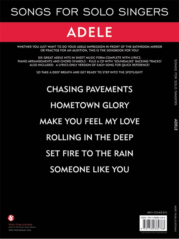 Songs For Solo Singers: Adele - Piano, Vocal & Guitar Sheet Music ...