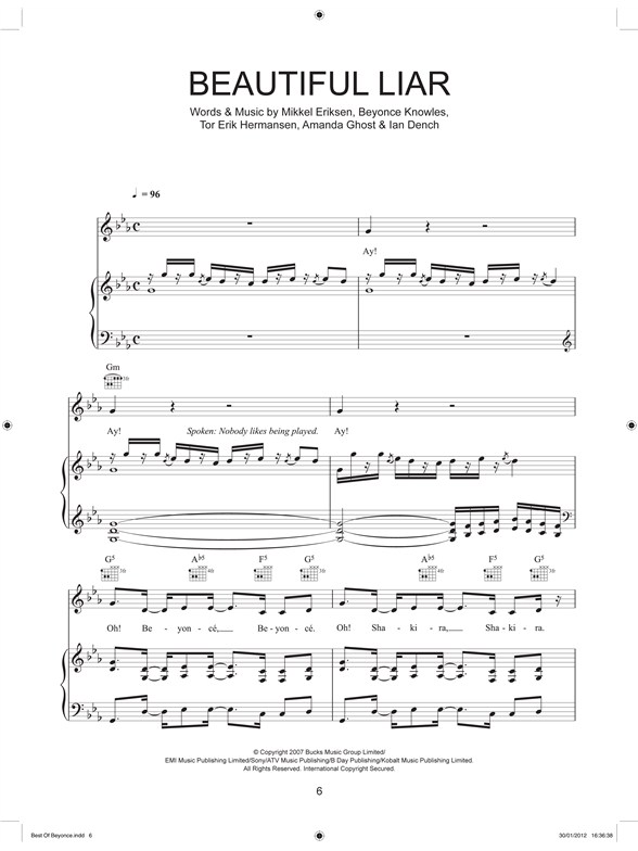 Best Of Beyonce - Piano, Vocal & Guitar Sheet Music - Sheet Music ...