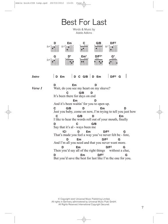 Guitar Chord Songbook Adele Lyrics Chords Sheet Music Sheet